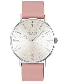 Women's Breast Cancer Awareness Perry Blush Leather Strap Watch 36mm
