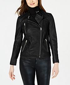 Asymmetrical Leather Moto Jacket