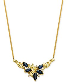 """Sapphire (2-1/6 ct. t.w.) & Diamond (1/20 ct. t.w.) Marquise Cluster 16"""" Statement Necklace in 14k Gold"""