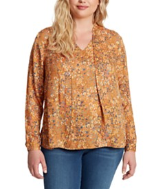 Jessica Simpson Samantha Plus Size Floral-Print Top