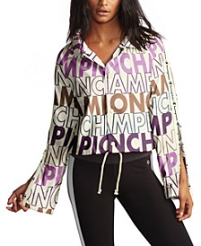Logo-Print Flared-Sleeve Coach's Jacket