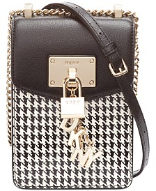 DKNY Elissa Houndtooth Leather Phone Crossbody, Created for Macy's