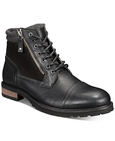 Men's Connor Leather Lace-Up Boots, Created for Macy's