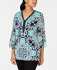 Petite Printed Embellished Top, Created for Macy's