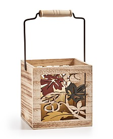 Home Essentials Harvest Small Wood Candle Holder