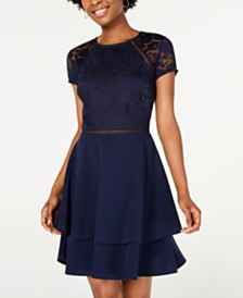 City Studios Juniors' Lace-Sleeve Dress