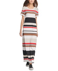 DKNY Striped T-Shirt Maxi Dress