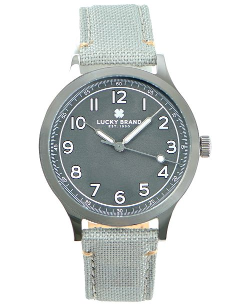 Lucky Brand Men's Jefferson Grey Fabric Strap Watch 38mm