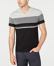 Men's Textured Colorblocked V-Neck T-Shirt, Created for Macy's