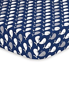Navy Whale Fitted Crib Sheet