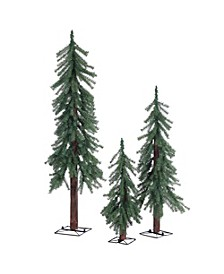 Unlit Alpine Trees  - Set of 3