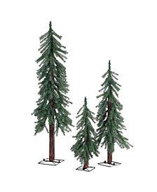 Sterling Unlit Alpine Trees  - Set of 3