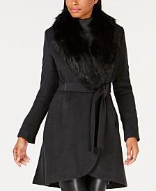 Calvin Klein Faux-Fur-Collar Wrap Coat