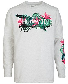 Hurley Little Boys Long Sleeve Logo-Print T-Shirt