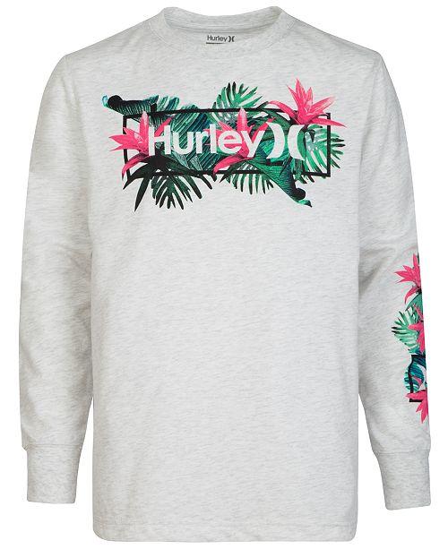 Hurley Little Boys Long Sleeve Logo-Print T-Shirt