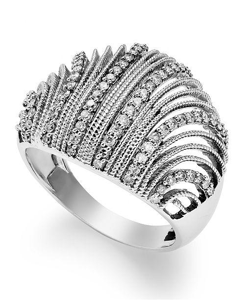 Macy's Diamond Shell Ring in Sterling Silver (1/2 ct. t.w.)