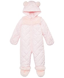 Baby Girls Fur Trim Detachable Foot Snowsuit, Created for Macy's