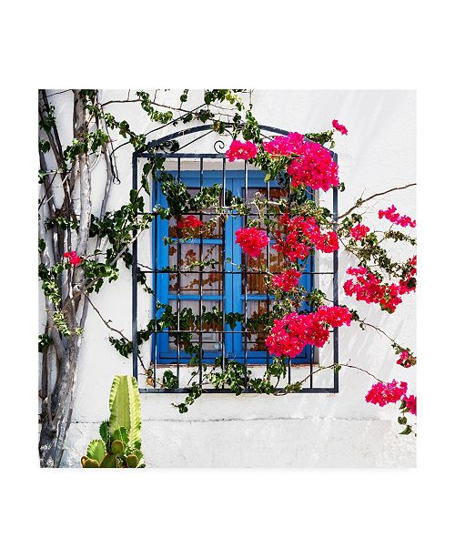 "Trademark Global Philippe Hugonnard Made in Spain 3 White Facade & Blue Window Canvas Art - 15.5"" x 21"""
