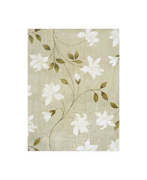 "Trademark Global Pablo Esteban White Flower Vines Canvas Art - 27"" x 33.5"""