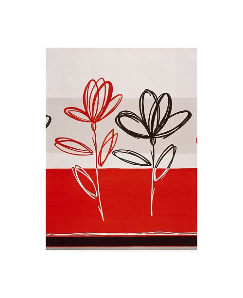 "Trademark Global Pablo Esteban Red and Black Flowers Canvas Art - 36.5"" x 48"""