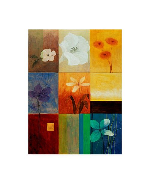 "Trademark Global Pablo Esteban Floral Collage on Squares Canvas Art - 19.5"" x 26"""