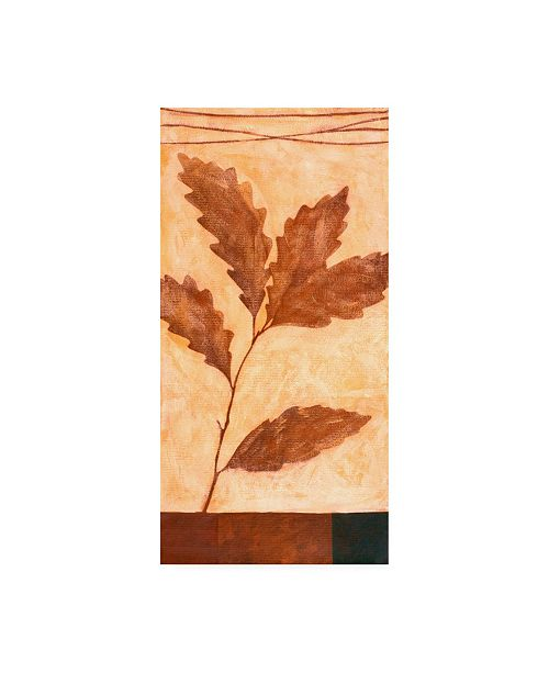 "Trademark Global Pablo Esteban Red Leaves on Beige Canvas Art - 15.5"" x 21"""