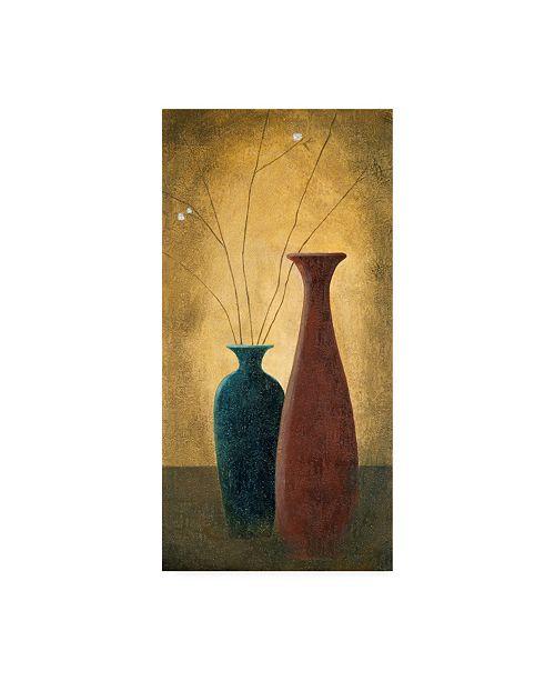 "Trademark Global Pablo Esteban Two Slender Vases and Flowers Canvas Art - 27"" x 33.5"""