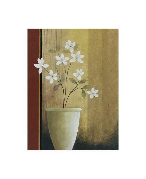 "Trademark Global Pablo Esteban White Flowers in Vase on Beige Canvas Art - 19.5"" x 26"""