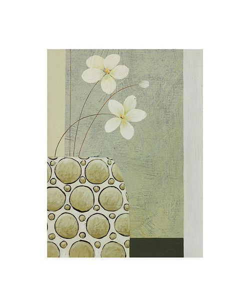 "Trademark Global Pablo Esteban White Flowers and Studded Bowl Canvas Art - 36.5"" x 48"""