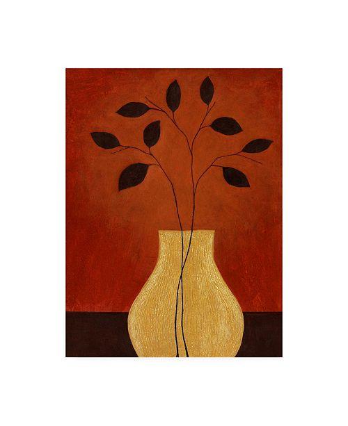 "Trademark Global Pablo Esteban Yellow Vase Against Red Canvas Art - 36.5"" x 48"""