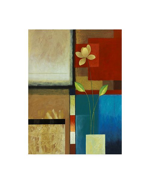 """Trademark Global Pablo Esteban Flower with Red and Blue Squares Canvas Art - 15.5"""" x 21"""""""