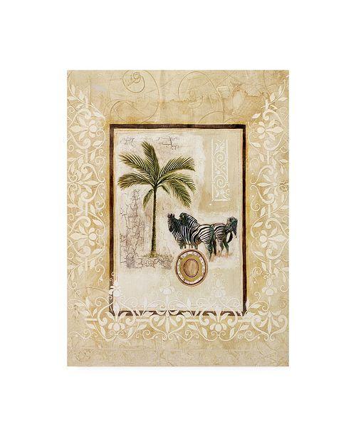 "Trademark Global Pablo Esteban Palm Tree and Three Zebras Canvas Art - 15.5"" x 21"""
