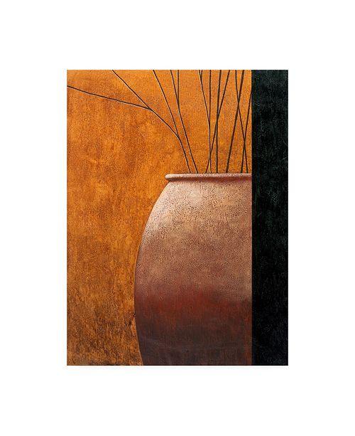 "Trademark Global Pablo Esteban Large Vase Against Yellow Canvas Art - 27"" x 33.5"""