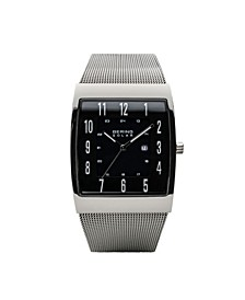 Men's, Slim Solar Stainless Steel Tank Mesh Watch