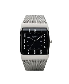 Bering Men's, Slim Solar Stainless Steel Tank Mesh Watch