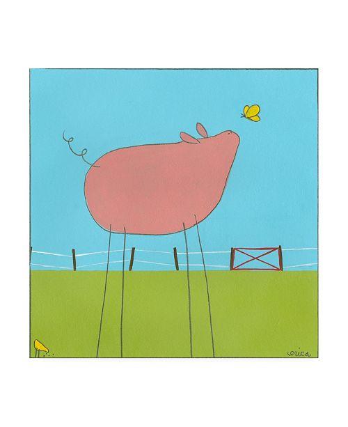 """Trademark Global June Erica Vess Stick leg Pig I Childrens Art Canvas Art - 19.5"""" x 26"""""""