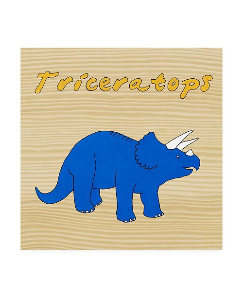 "Trademark Global Megan Meagher Triceratops Childrens Art Canvas Art - 15.5"" x 21"""
