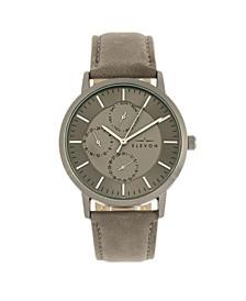 Men's Lear Genuine Leather Strap Watch 42mm