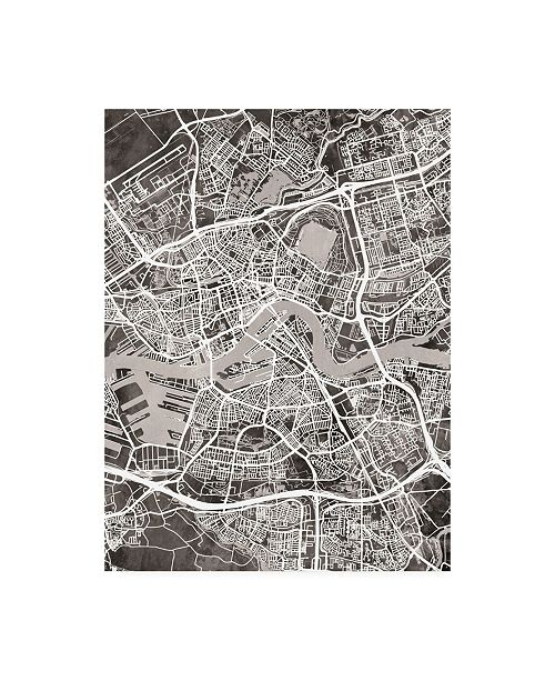 "Trademark Global Michael Tompsett Rotterdam Netherlands City Map Black Canvas Art - 27"" x 33.5"""