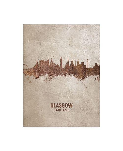 "Trademark Global Michael Tompsett Glasgow Scotland Rust Skyline Canvas Art - 27"" x 33.5"""