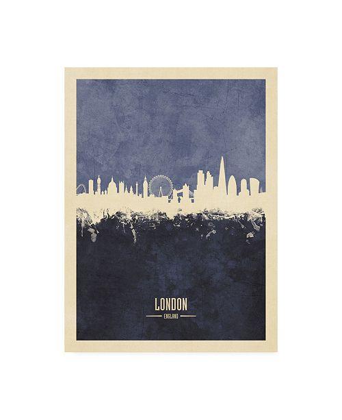 "Trademark Global Michael Tompsett London England Skyline Navy Poster Canvas Art - 15.5"" x 21"""