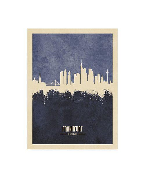 "Trademark Global Michael Tompsett Frankfurt Germany Skyline Navy Canvas Art - 15.5"" x 21"""