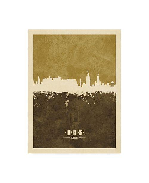 "Trademark Global Michael Tompsett Edinburgh Scotland Skyline Brown Canvas Art - 27"" x 33.5"""