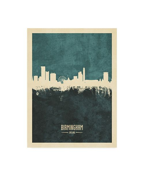 "Trademark Global Michael Tompsett Birmingham England Skyline Teal Canvas Art - 15.5"" x 21"""