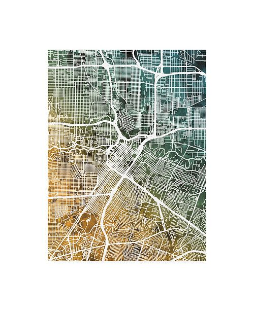 "Trademark Global Michael Tompsett Houston Texas City Street Map Teal Orange Canvas Art - 27"" x 33.5"""