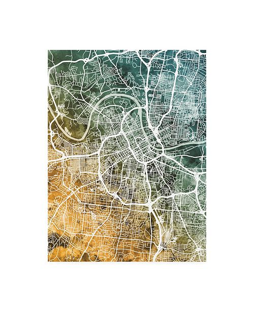 "Trademark Global Michael Tompsett Nashville Tennessee City Map Teal Orange Canvas Art - 15.5"" x 21"""