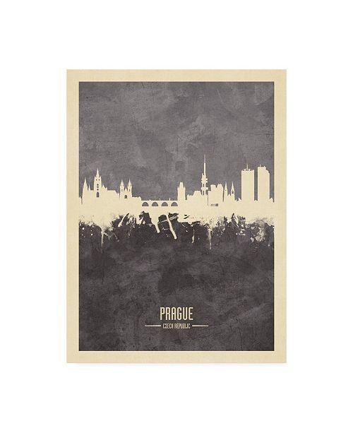 """Trademark Global Michael Tompsett Prague (Praha) Czech Republic Skyline Gray Canvas Art - 15.5"""" x 21"""""""