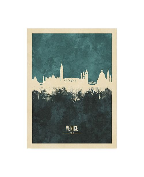 "Trademark Global Michael Tompsett Venice Italy Skyline Teal Canvas Art - 27"" x 33.5"""