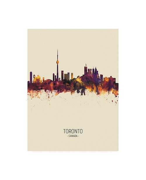 "Trademark Global Michael Tompsett Toronto Canada Skyline Portrait III Canvas Art - 36.5"" x 48"""