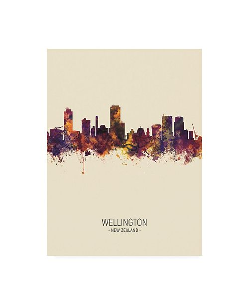 "Trademark Global Michael Tompsett Wellington New Zealand Skyline Portrait III Canvas Art - 36.5"" x 48"""